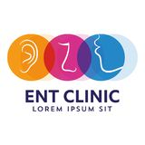 ENT logo template. Head for ear, nose, throat doctor specialists. logo concept. Line vector icon. Editable stroke. Flat linear ill. ENT logo template With Head Stock Image