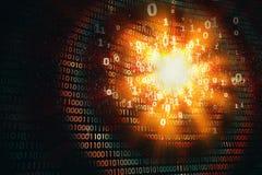Entailler la protection de l'ordinateur, attaque de ddos, fond binaire abstrait Photographie stock
