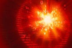 Entailler la protection de l'ordinateur, attaque de ddos, fond binaire rouge abstrait Photos libres de droits
