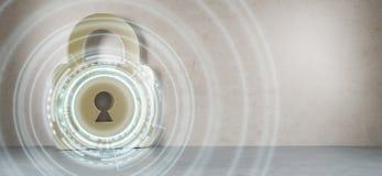 Entailler sur le rendu numérique de la sécurité 3D de maison Photo stock
