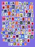 Entalhe alfabético da letra da fonte do vetor de ABC da colagem do alfabeto do compartimento do jornal e de feito a mão alfabétic ilustração stock