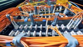 Entalhes dos servidores com os fios alaranjados obstruídos neles video estoque