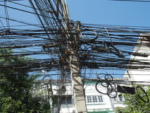 Entangled cables found at Chiang Mai Stock Photography