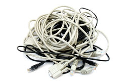 Entangled computer cables Royalty Free Stock Photo
