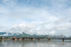 Entanou Bridge over the Pereaek Tuek Chhu River, Kampot, Cambodi stock photos