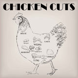 Entassez la poitrine de carcasse de pièces de plan de viande de coupe de coq de jeune coq illustration stock