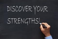 Entdecken Sie Ihre Stärken stockbild