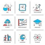 Entdeckungs- und Wissenschaftslinie Ikonen eingestellt lizenzfreie abbildung