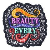 Entdeckungsschönheit an jeden Tag Bunte Phrase auf Hintergrund mit swi Stockbild