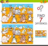 Entdeckungsunterschiede mit Kaninchentiercharakteren Stockbilder