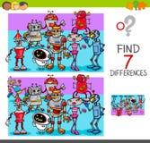 Entdeckungsunterschiede mit Robotercharakteren Lizenzfreie Stockfotos