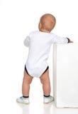 Ente completo un bambino infantile del bambino del neonato di anno nel tshir bianco fotografie stock