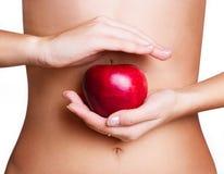 Ente femminile con la mela Fotografie Stock