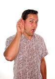 Ente occupato che ascolta e che ascolta di nascosto Fotografie Stock Libere da Diritti