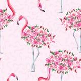 Ente rosa del fenicottero del modello senza cuciture delle rose Fotografia Stock Libera da Diritti