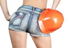 Ente sexy della donna negli shorts del tralicco Immagine Stock Libera da Diritti