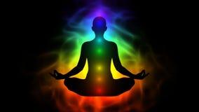 Ente umano di energia, aura, chakra nella meditazione illustrazione vettoriale