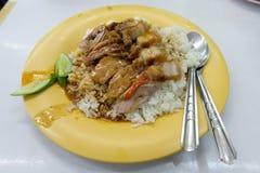 Ente und knusperiger Schweinefleischreis, thailändische Art stockfoto