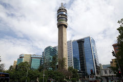 Entel Tower in santiago, Chile. Entel Tower is the name of 127 metres high TV and telecomunications tower in Santiago. it was inaugurated in 1974 Stock Image