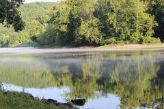 Enten im Arkansas River haben bei Murray Lock und bei der Verdammung ein Bankkonto Lizenzfreies Stockbild