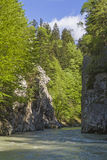Entenlockklamm. A popular rafting experience is a ride on the Kössener Ache stock photos