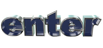 Enter. Cool 3d text that can be used for websides or other purposes Stock Photo