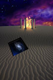 Enter. Fire temple in desert with opening in the sands Royalty Free Stock Image