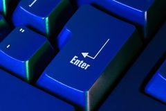 Enter. Blue keyboard key (macro Stock Photography