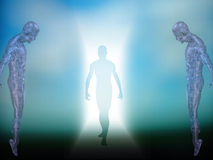 Enter. Figure emerges from light with two circuit skinned figures Royalty Free Stock Photography