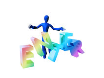 Enter. 3D character with colourful enter text, isolated on a white background Royalty Free Stock Photo