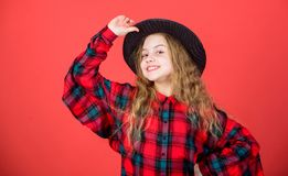 Enter acting academy. Girl artistic kid practicing acting skills with black hat. Acting school for children. Acting. Lessons guide children through wide variety royalty free stock photos
