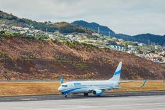 Enter Air Boeing 737 lands at Funchal Cristiano Ronaldo Airport. This airport is one of the most. Funchal, Madeira - July 6, 2016: Enter Air Boeing 737 lands at Royalty Free Stock Photos