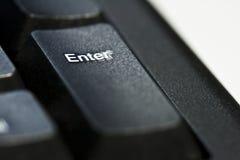 Enter botton. Closeup of enter botton on black keyboard Stock Photography
