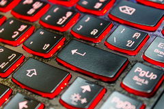 Enter button on the black keyboard. Stock Image