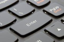 Enter button black. Enter button of black laptop's keyboard; Macro photo Stock Photos