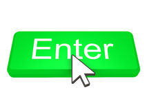 Enter button with cursor. Green Enter button with a cursor on top of it Stock Photo