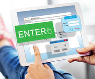 Enter Button Display Identification Operating Concept Stock Photography