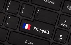 Enter button with flag France - Concept of language Stock Images