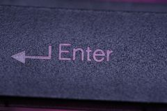 Enter button on keyboard. Element of design. Enter button macro on keyboard. Close up Element of design royalty free stock photo