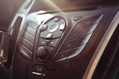 Enter button , knob on a car's dashboard Stock Image