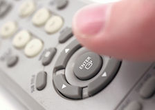 Enter button on remote control. Royalty Free Stock Image