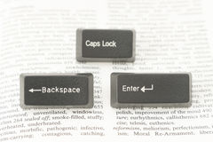 Enter CapsLock and Backspace Computer Keys on a Book Page Royalty Free Stock Photography
