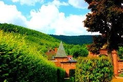 The enter of the church of moyenmoutier vosges france Stock Photography