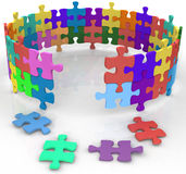 Enter circle inside mystery puzzle solution. Solution entrance to mysterious inner circle of puzzle Stock Image