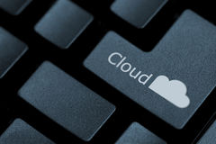 Enter the cloud. Horizontal close up of black keys on a keyboard with the word cloud and a cloud icon on one of them Royalty Free Stock Photos