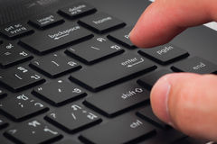 Enter. The finger point to enter a keyboard Royalty Free Stock Images