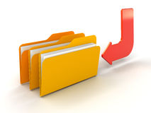 Enter folders and files. Colored folders and files rendered in 3D Royalty Free Stock Image
