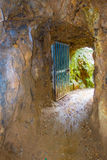 Enter of historic rail tunnel, a part of an old gold mine transportation system located in North Island in New Zealand.  stock image