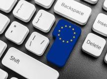 Enter key button with Flag of the European Union. Stock Photo