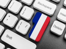 Enter key button with Flag of France. Stock Photo